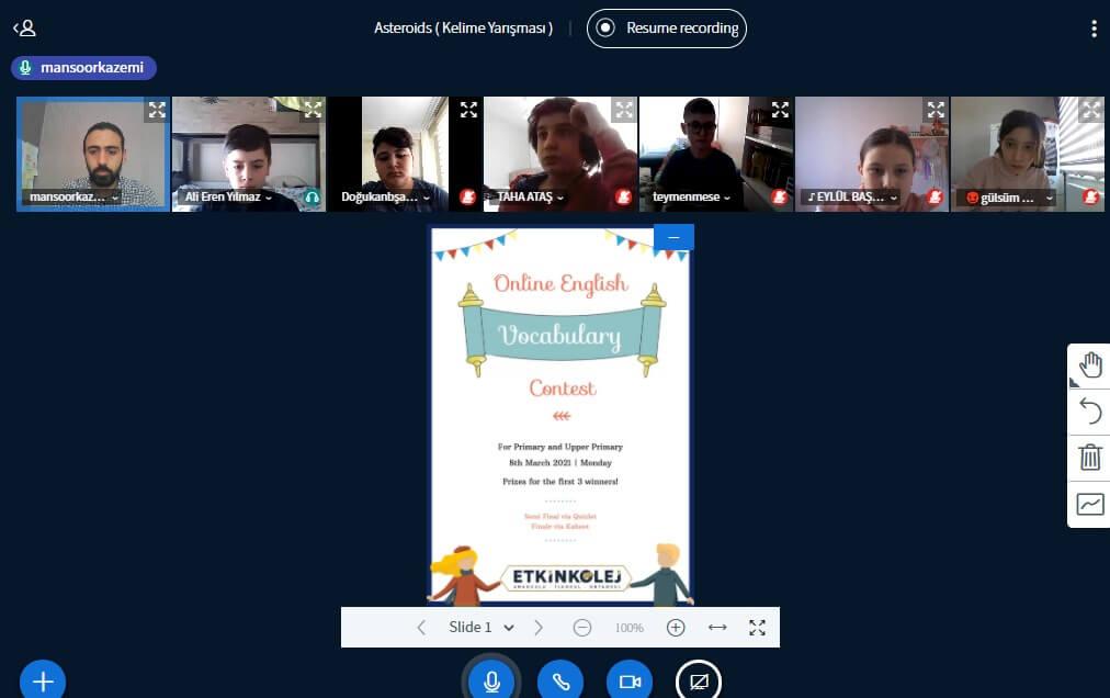 Etkin Kolej | Etkin Kolej 3. Geleneksel İngilizce Kelime Yarışması